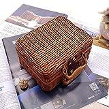 Retro Wicker Suitcase,Brown Wicker Picnic Basket