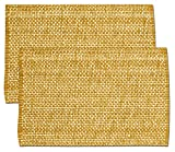 "Unique & Custom {13 x 19'' Inch} Set Pack of 2 Rectangle ""Non-Slip Grip Texture"" Large Table Placemats Made of Washable Flexible 100% Cotton w/ Woven Country Modern Design [Yellow/Orange Color]"