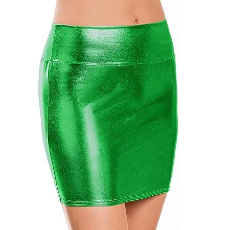 HNGPB - Falda de Cadera para Mujer (Piel patentada, metálica ...
