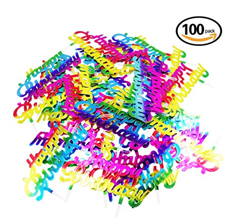 Lauren 100Pcs Gradient Color Happy Birthday Plastic Cupcake Toppers Cake Decorating Tools for Party (Plastic Cake Toppers)