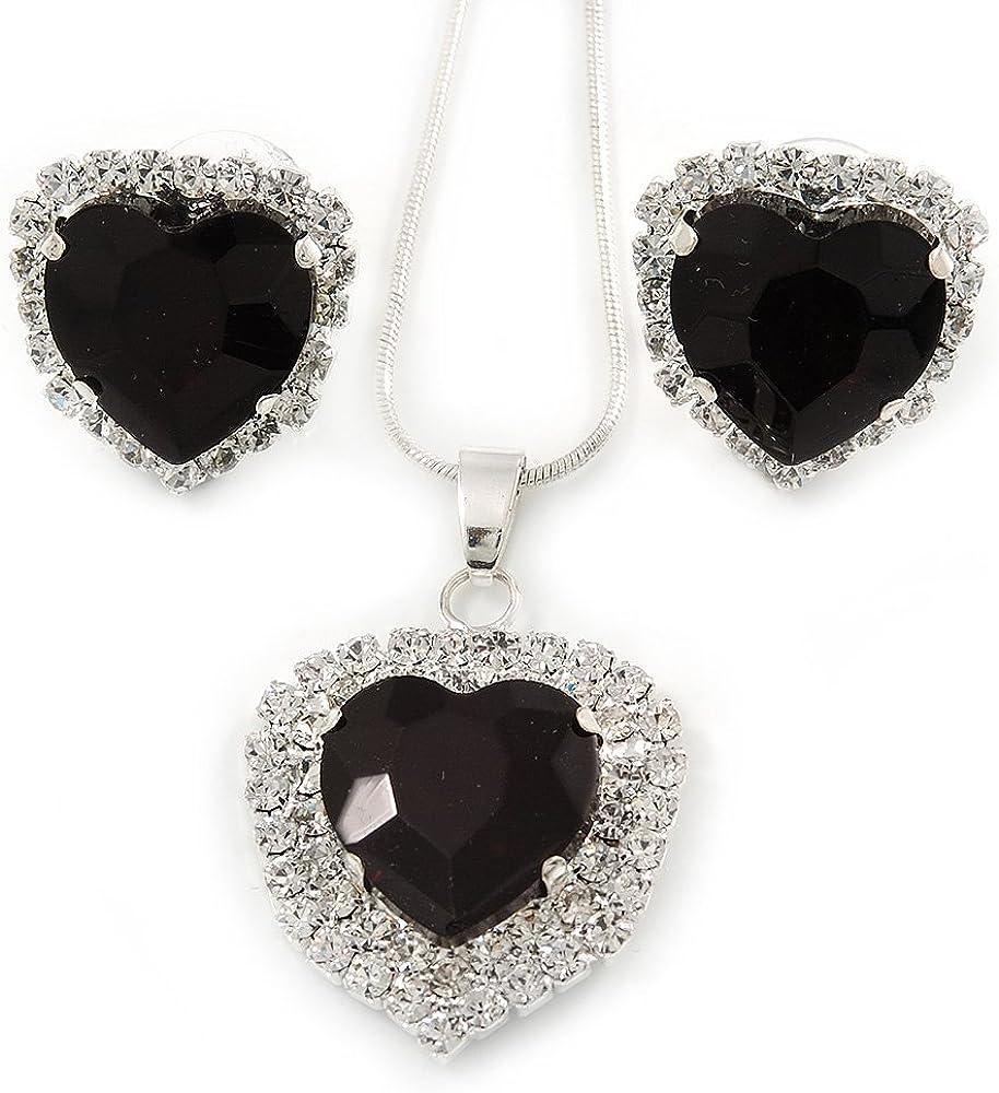 Negro/transparente de cristal colgante de corazón con el tono de plata de la cadena y pendientes con sistema de - 44 cm/L 6 cm Ext