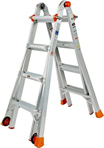 QOMOTOP Multi-Position Ladder, 17-ft Reach Telescoping Ladder Step Ladder with 300 lb. Load Capacity Type IA Duty Rating