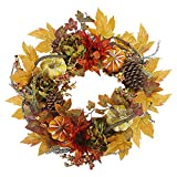 Sikaye Wreath Autumn Harvest Maple Leaf Pumpkin Front Door Wreath,Artificial Flowers,20 Inch