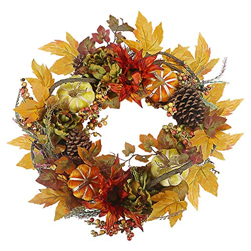 Sikaye Wreath Autumn Harvest Maple Leaf Pumpkin Front Door Wreath,Artificial Flowers,20 Inch]()