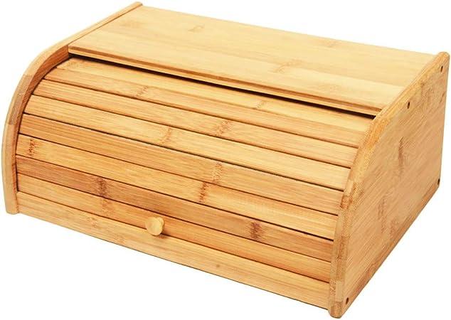 KRBZL Cajas de Pan 40X27X17 CM Contenedor de Pan de Bambú Contenedor de Almacenamiento de Alimentos Cocina Roll Top Caja de Almacenamiento de Pan Cocinas Suministro: Amazon.es: Hogar