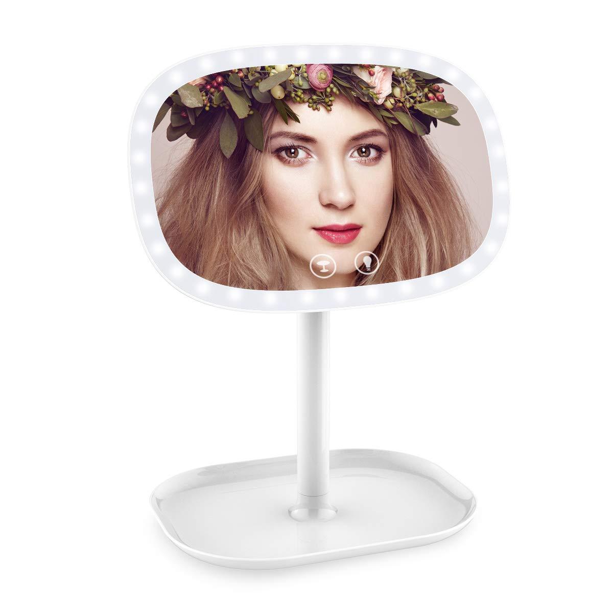 ERAY Espejo de Maquillaje 1X / 10X Aumento, 37 LED Luces Ajustables, USB Recargable o Baterías, Control de Luz de Pantalla Táctil, 360° Rotación, Claridad de Alta Definició y Portátil, Buen Regalo para Novias o Mujeres, Color Rosa