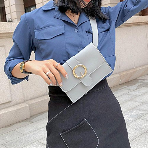 Simple Chest PU Grey Leather Waist Pure Domybest Handbags Shoulder Pack Fanny Women Hasp 8vxFw