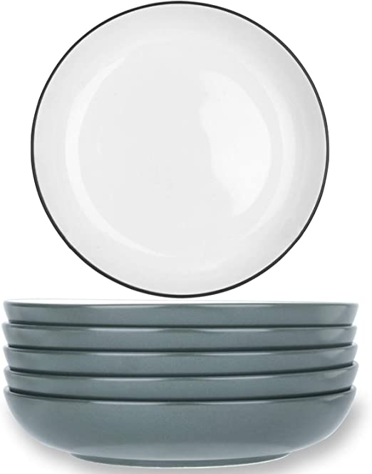 TGLBT Plate Bowls 15 Ounce Set of 8 Shallow,Serving Bowl Set,Gray