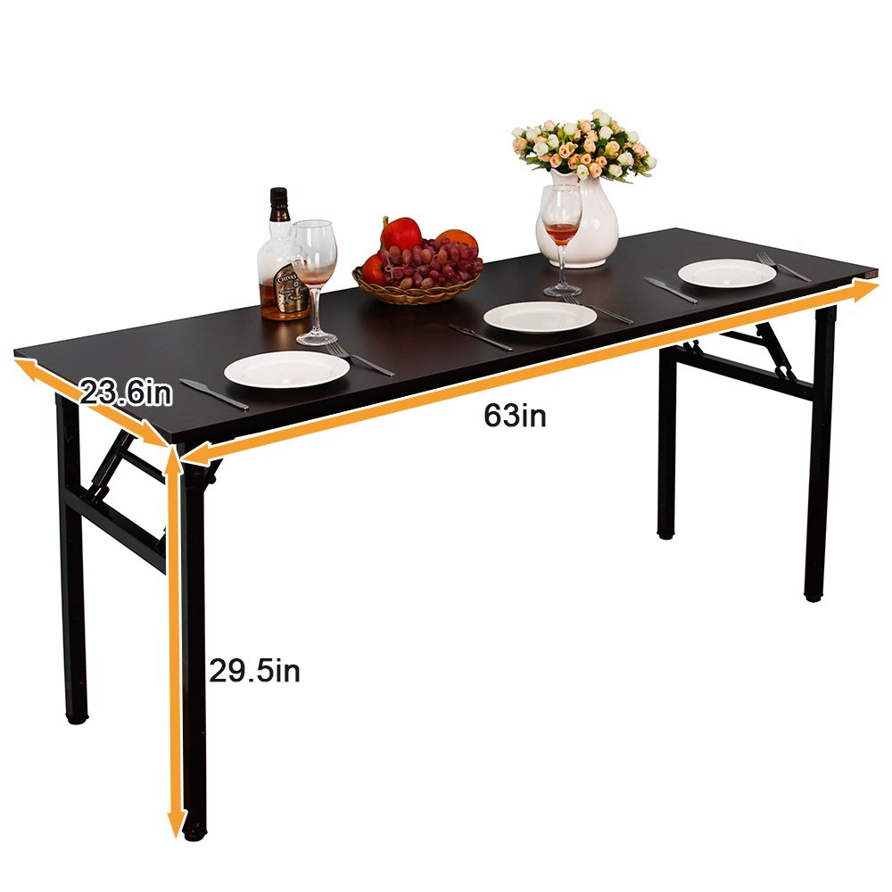 sogesfurniture Computer Desk Office Desk 55 inches Folding Table Laptop Desk Computer Table Workstation with BIFMA Certification No Assembly Required,Black BHCA-AC5CB-140