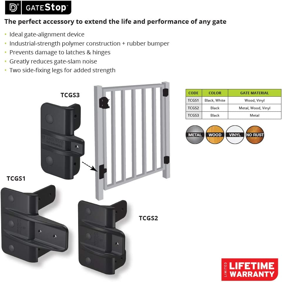 D/&D Technologies TCGS2S Gate Stop Greatly Reduces The Sound /& Damage from Slamming Gates for Any Square Post Gate