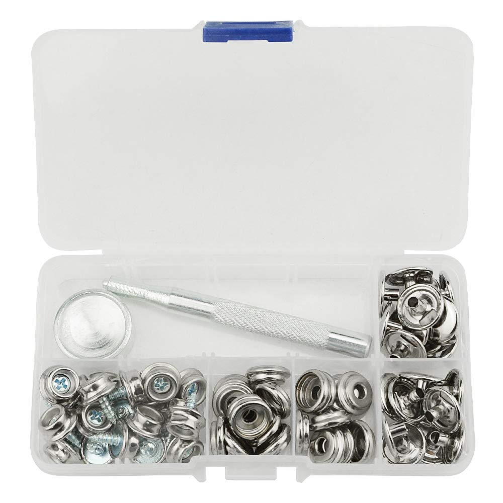 TOVOT 60 pcs Snap Fasteners Kit Marine Grade 3//8 Socket with 3//8 Screws Upholstery Boat Cover Snap Button Fastener Kit with 2Pcs Setting Tool,20 Set-Sliver