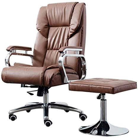 Miraculous Amazon Com Wxf Leather Swivel Chair Recliner And Footstool Machost Co Dining Chair Design Ideas Machostcouk