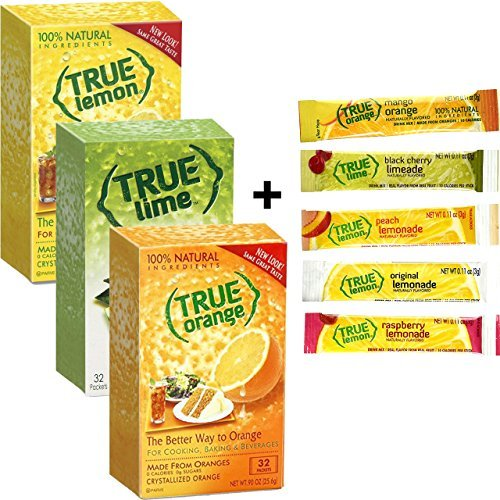 True Lemon, Lime, Orange & (32ct each) plus FREE sample packs of True Lemon Original Lemonade, Mango Orange, Peach Lemonade, Black Cherry Limeade, and Raspberry Lemonade