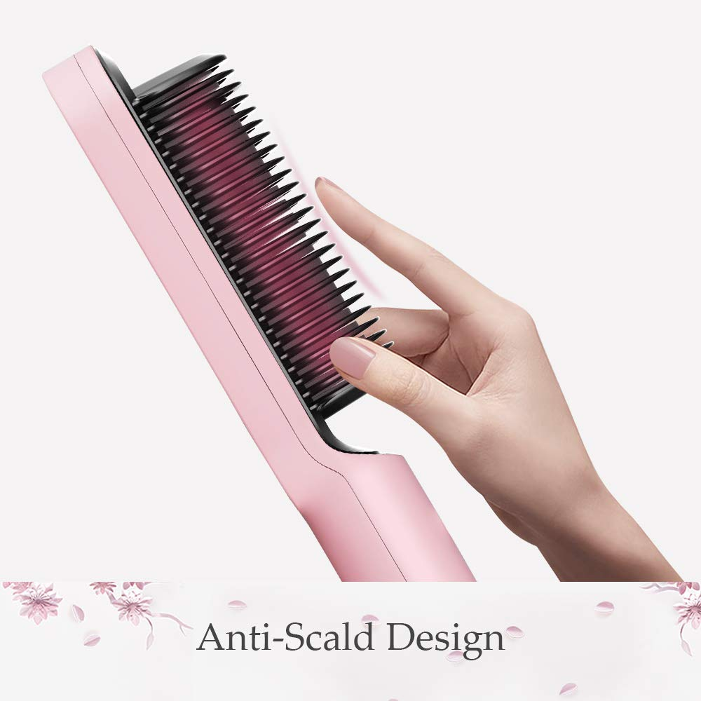 TYMO Ring Pink Hair Straightener Brush – Hair Straightening Iron with Built-in Comb, 20s Fast Heating & 5 Temp Settings & Anti-Scald, Perfect for Professional Salon at Home : Beauty