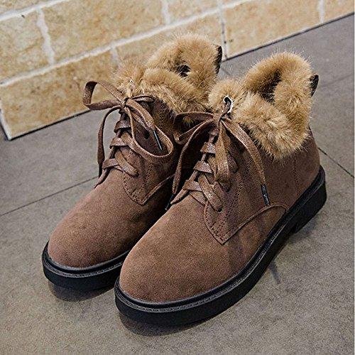 tacón PU negro mujer Confort Zapatos casual plano Coffee de Toe invierno café de Ronda para botas wa0aCFq