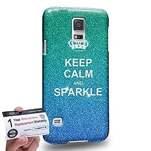 Case88 [Samsung Galaxy S5] 3D impresa Carcasa/Funda dura para & Tarjeta de garantía - Art Fashion Keep Calm And Sparkle blue Humor Inspiration