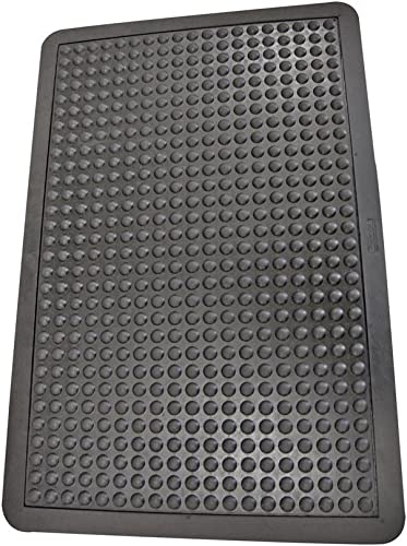 Rubber-Cal 03_185_WBK Bubble Top Anti-Fatigue Matting Rubber Mats, 5 8 x 3 x 4 , Black Borders