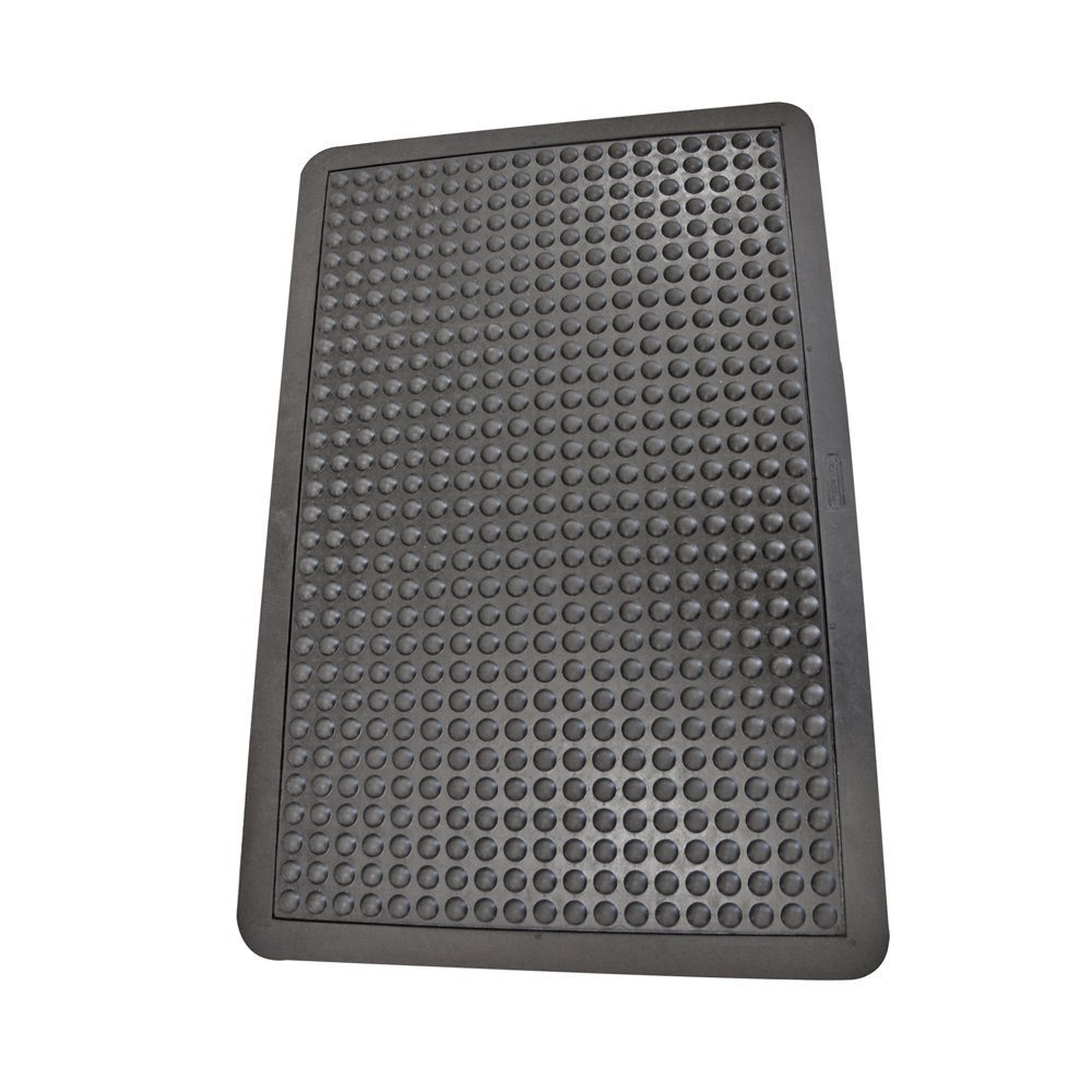 Rubber-Cal 03_185_WBK Bubble Top Anti-Fatigue Matting Rubber Mats, 5/8'' x 3' x 4', Black Borders