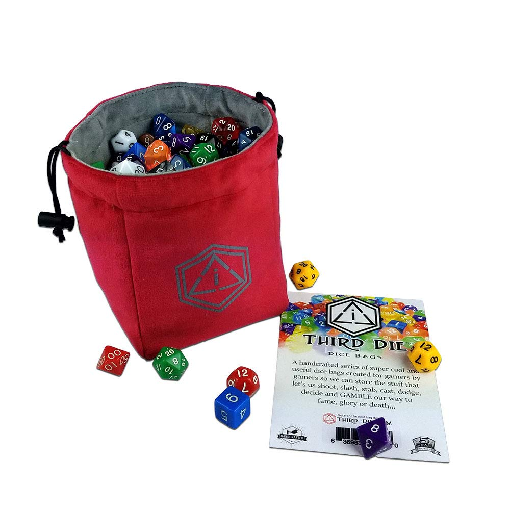 Third Die Dice Bag - Handcrafted and Reversible Drawstring Bag That Stands Open On The Table - Vibrant Red and Dark Gray by Third Die