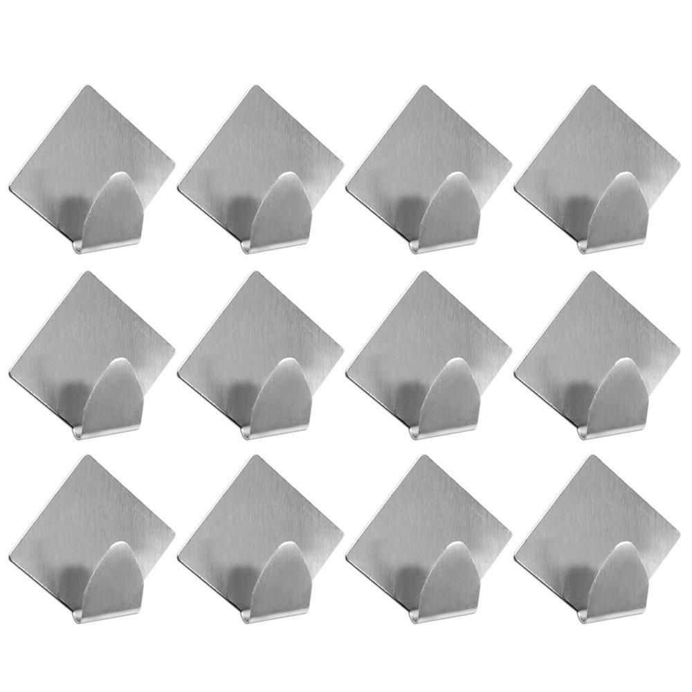 COM-FOUR 12X Ganci Adesivi, in acciaio inox spazzolato, rettangolare, 6X 2pezzi