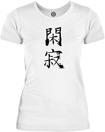 Big Texas Tranquility Chinese Symbol Black Womens Fine Jersey T