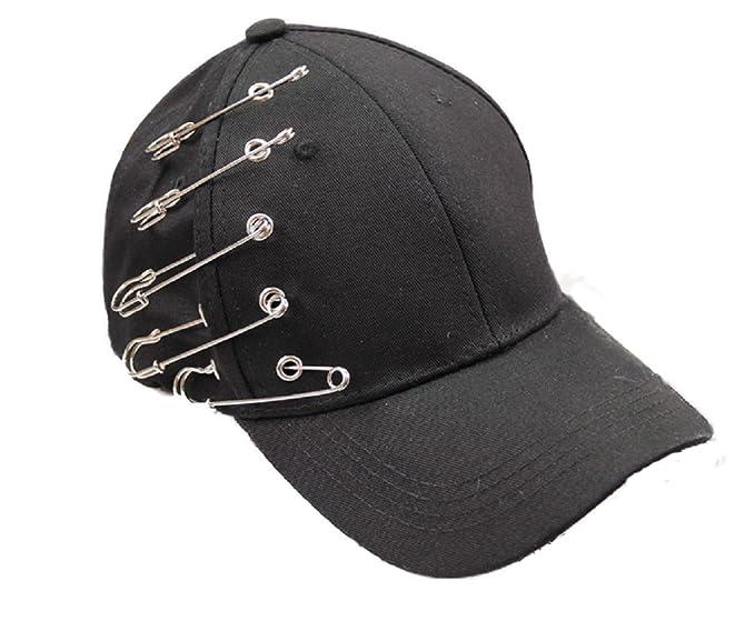 YABINA Unisex Silver Ring Piercing Rock Cotton Baseball Hat Truckers (Black) e748e2481d31