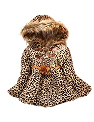 Girl Baby Toddlers Leopard Faux Fur Fleece Coat Kids Winter Warm Jacket Outwear - 6