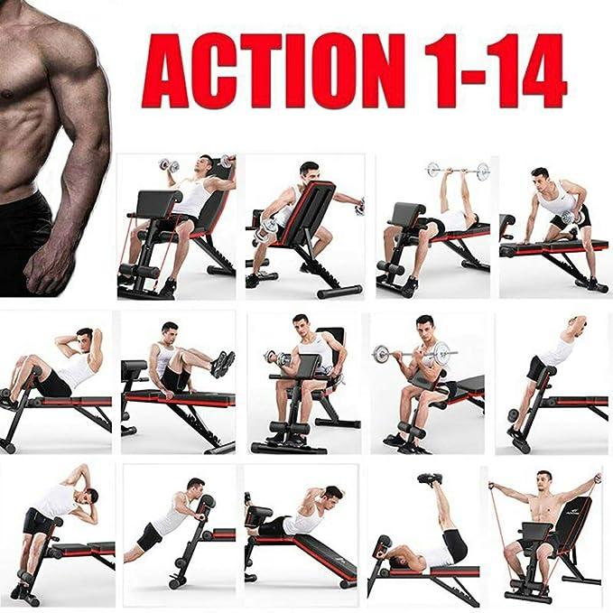 banco plano plegable para abdominales multifunci/ón entrenamiento de espalda Tribesigns Fitness Banco de entrenamiento con mancuernas