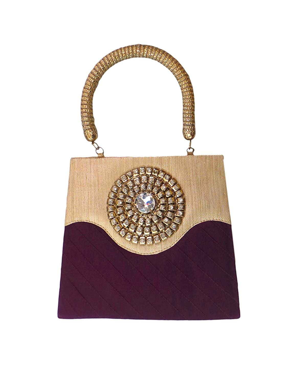 Bhamini Purple Raw Silk Pintuck Handbag with Radiant Brooch