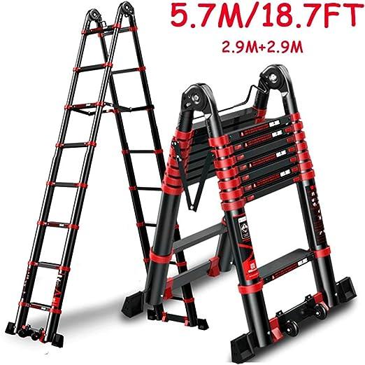 ZAQI - Escalera telescópica para ático, escaleras, Techo, Tienda de campaña, Campamento, Escalera de extensión Ligera de Aluminio con Ruedas/Barra estabilizadora, Carga 150 kg: Amazon.es: Hogar