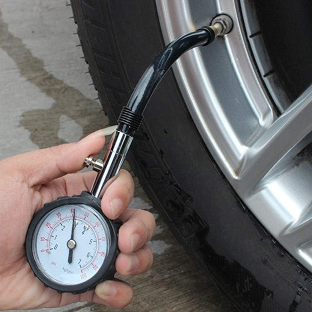 Asdomo Tyre Pressure Gauge with Flexible Hose Heavy Duty Car /& Motorbike 100 PSI Air Pressure Gauge Meter Tire