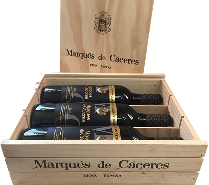 Caja de madera 3 botellas - Marqués de Caceres Gran Reserva - Vino tinto: Amazon.es: Alimentación y bebidas