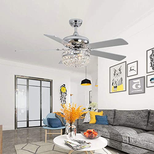 52Inch Modern Crystal Ceiling Fan