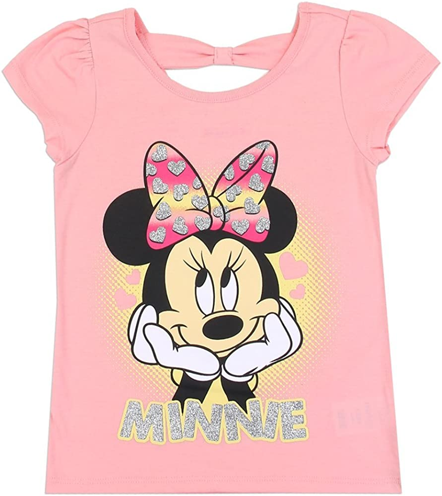 Glitter /& Tied at The Neck Coral Minnie Mouse Girls Toddler T-Shirt 3T Pink