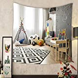 Grace Little Custom tapestry spacious child room with window play tent sack chair pattern carpet regale sofa small table