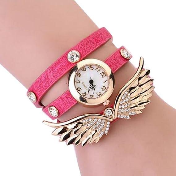 duoya Mujer Vintage ángel alas Colgante Rhinestone Pulsera de cuero cuarzo reloj de pulsera – rosa