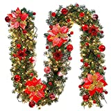 Ikevan Xmas LED Tree Hanging Ornament Rattan Colorful Decoration for Christmas Party (C)