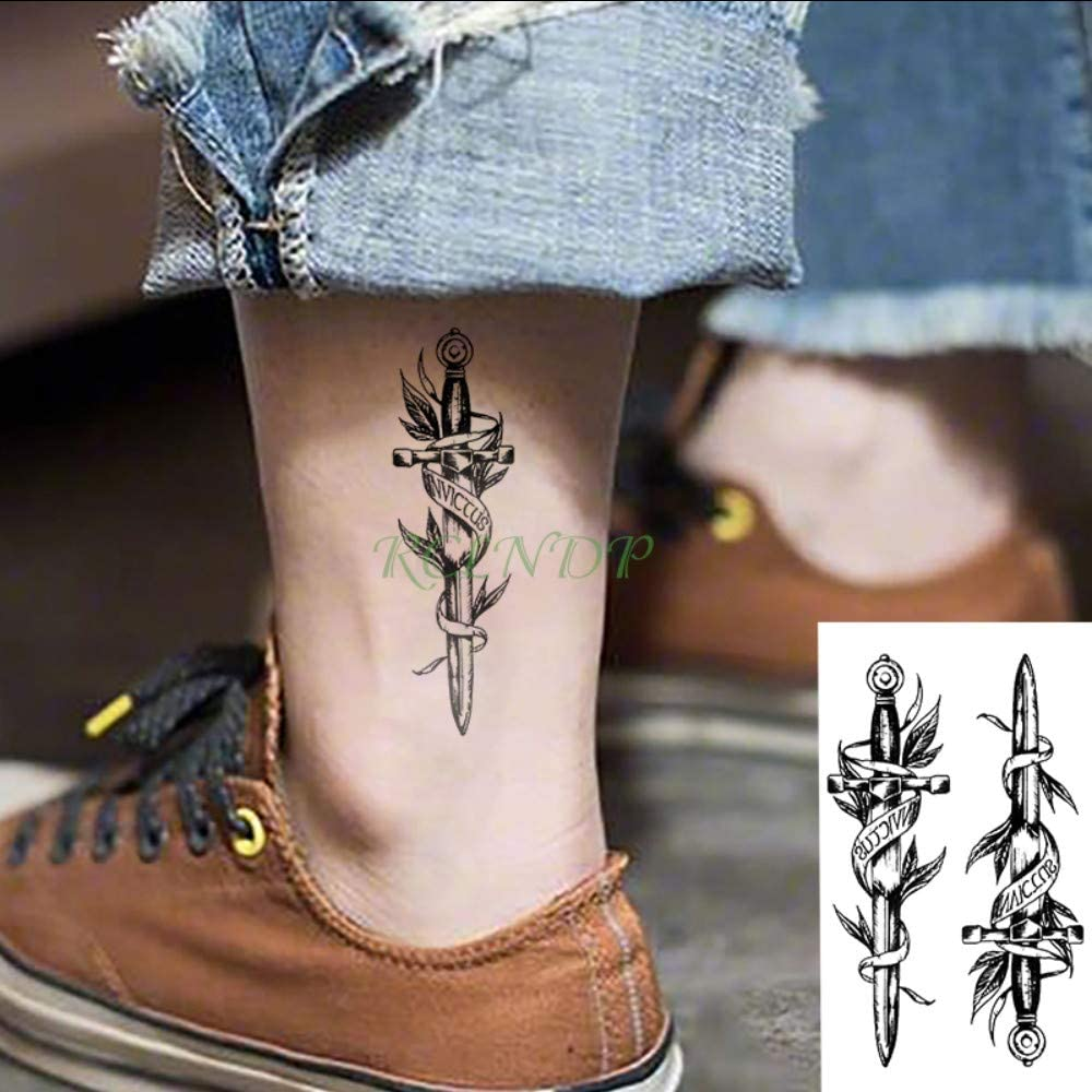 tzxdbh Impermeable Etiqueta Engomada del Tatuaje Temporal Daga ...