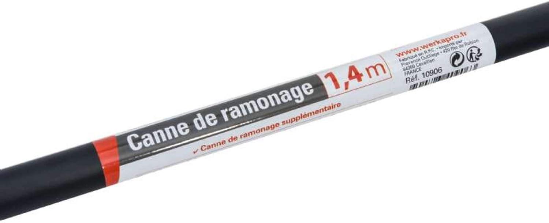 WerkaPro 10906 Sadapte sur les cannes standards 1,40 m Canne de ramonage Suppl/émentaire