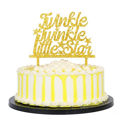 PALASASA Gold Glitter Acrylic Twinkle Little Star Cake Topper In For Baby Shower Or Birthday