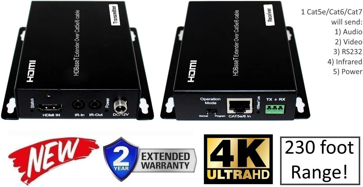 HDbaseT 4K HDMI Extender Kit Over Single CAT5e or CAT6 60hz UltraHD YUV 4:4:4 Uncompressed 230FT 70M Transmitter Receiver Bi-Directional IR RS232 HDCP2.2 HDTV Control4 Savant Home Automation 4k2k