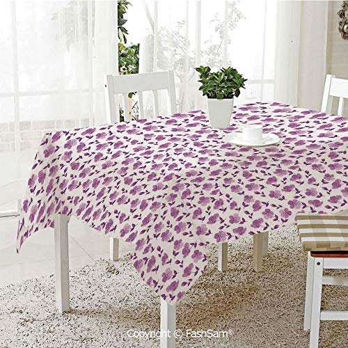 AmaUncle 3D Dinner Print Tablecloths Floral Pattern Romantic Decorating Valentines Day Wedding Anniversary Art Decorative Resistant Table Toppers (W60 xL84) (Decorating For Day Valentine)