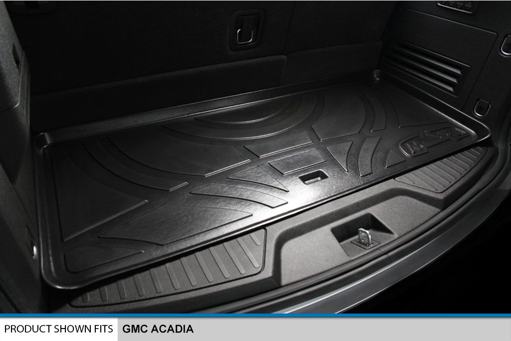 SMARTLINER Floor Mats 2 Rows and Cargo Liner Behind 3rd Row Set Black for GMC Acadia//Saturn Outlook with 2nd Row Bench Seat