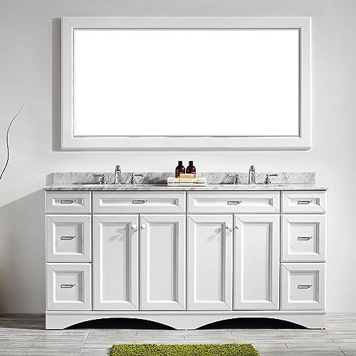 VINNOVA 710072-WH-CA Naples 72″ Vanity Carrera White Marble Countertop