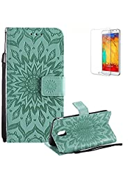 Funyye Strap Magnetic Flip Cover for Samsung Galaxy J7 2018,Premium Green Sunflower Embossed Pattern Folio Wallet Case with Stand Credit Card Holder Slots Case for Samsung Galaxy J7 2018,Shockproof Ultra Thin Slim Fit Full Body PU Leather Case for Samsung Galaxy J7 2018 + 1 x Free Screen Protector