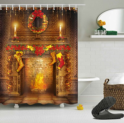 LB Xmas Shower Curtain,Warm Gold Luxury Fireplace Socks Candles Merry Christmas Shower Curtain Decorations Waterproof Anti Mildew Fabric 72x72 Inches wit Hooks ()