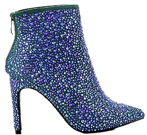 High Heel Blue Robbin Ankle 54 Blue Embellished Rhinestone Bootie Pointed Toe Mini Cape Crystal vwqxdP1Oqn