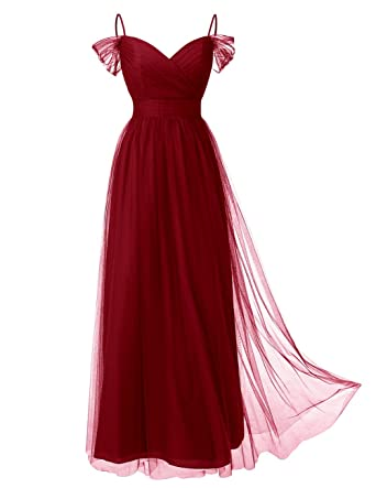 DRESSTELLS Long Prom Dress Tulle Off Shoulder Bridesmaid Dress With Pleat Dark Red Size 6