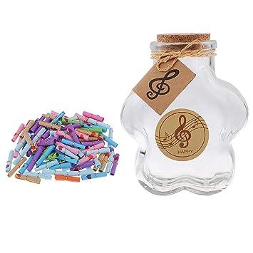 Baoblaze 100 Piezas Mensaje Deseos de Papel con Botellas de Vidrio.