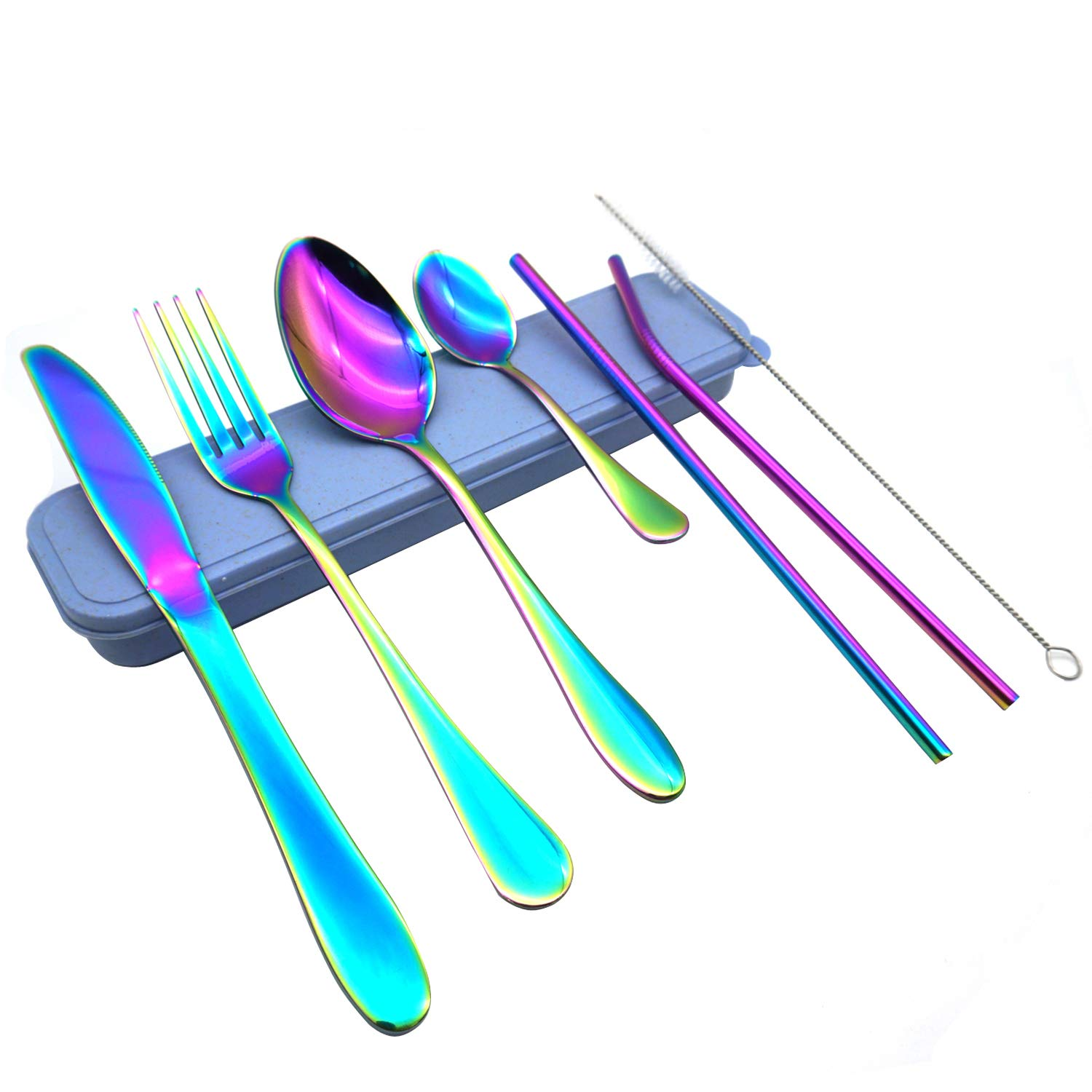 Silverware Set with Straws, I2USHOP 7 Piece Rainbow Stainless Steel Silverware Set for Travel or Camping, Mirror Polished, Dishwasher Safe